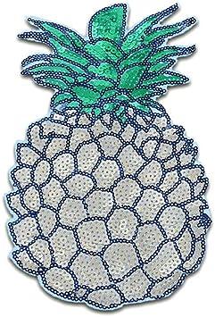 8,3x4,8cm gold Bügelbild Aufnäher Ananas Obst Frucht mit Pailletten
