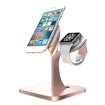 KOBWA für Apple Watch Ständer, Aluminium Ständer Dockingstation Cradle  Halter Halterung Ladestation für Smartphone, Apple Watch Series  3/2/1,iPhone 8, ...