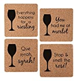 Wine Themed Coasters - Wine Lover Gift Cork Coaster Set - Wine Varietal Puns: Merlot, Syrah, Riesling, Rose