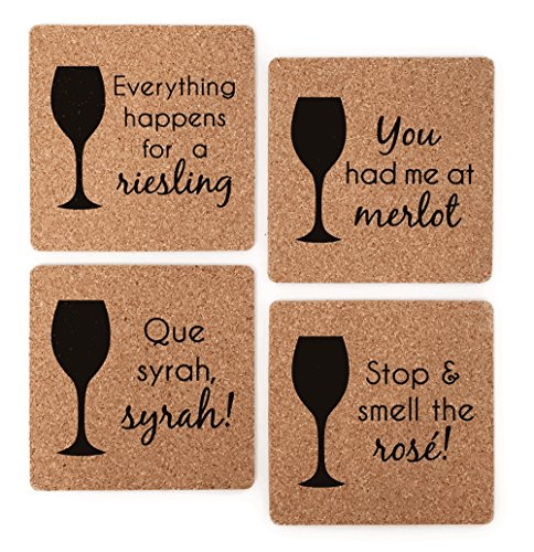 Themed Coaster (Wine Themed Coasters - Wine Lover Gift Cork Coaster Set - Wine Varietal Puns: Merlot, Syrah, Riesling, Rose)