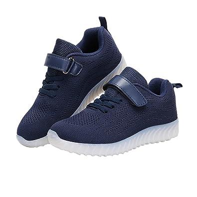LJ Sport LED Schuhe Jungen Leuchten Schuhe USB Lade Leucht Schuhe Schnürschuhe Turnschuhe Sneaker Schuhe (EU 29, Schwarz)