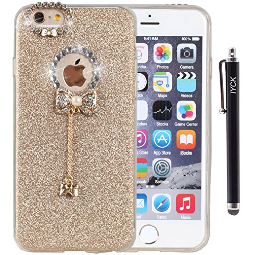 iPhone 6 Plus Case, iYCK 3D Handmade Lovely Cute Luxury Diamond Hybrid Glitter Bling Shiny TPU Soft Rubber Case Cover with Sparkly Bow Knot Crystal Pe…