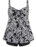 Hilor Women's Drawstring Ruched Halter Floral Tankini Set Two Piece Swimsuit Black Paisley 14