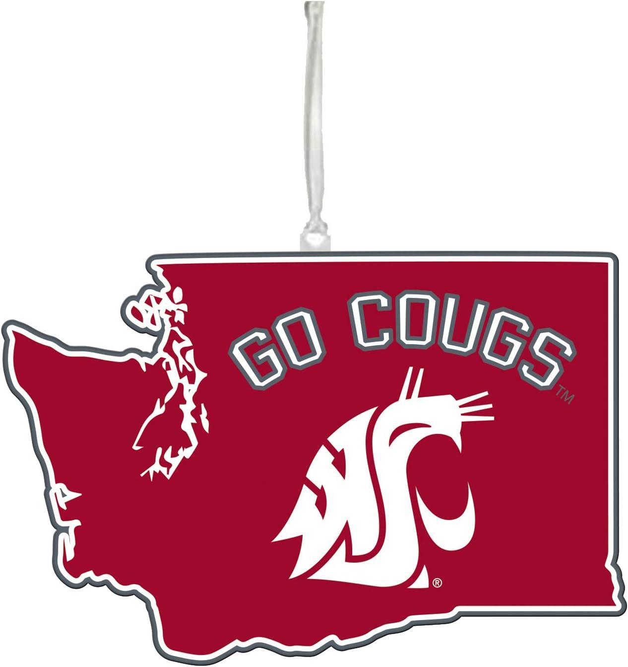 "Team Sports America NCAA Washington State University Festive State Shaped Christmas Ornament - 5"" Long x 5"" Wide x 0.2"" High"