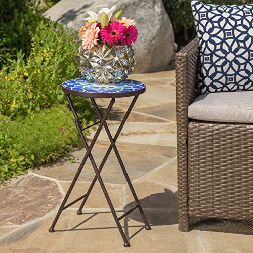 GDF Studio Arwen Outdoor Blue and White Glass Side Table with Iron Frame