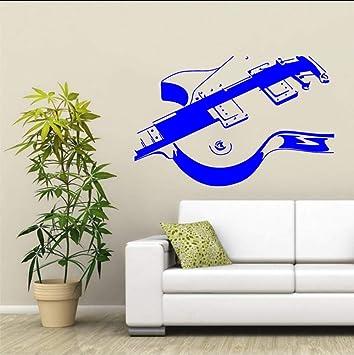 (Hjcmhjc) Guitarra Eléctrica Etiqueta De La Pared De Vinilo Musical Arte Mural De La