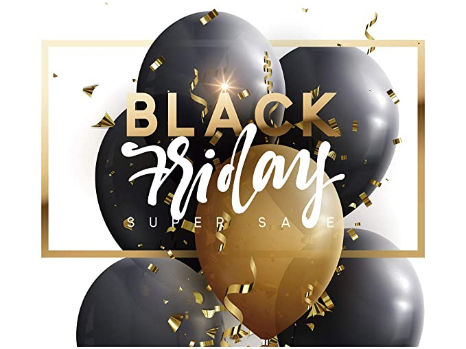 Vinilo Black Friday Escaparates Rebajas Black Friday blanco y dorado | 100 cm de largo x 90 cm de alto | Vinilo Adhesivo | Decora tu escaparate | ...