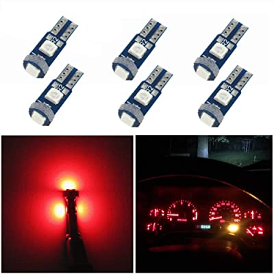 WLJH 6 Pack Super Bright 3030-3SMD T5 Canbus Error Free Red Instrument Cluster Panel Dash Light,Plug and Play: Automotive