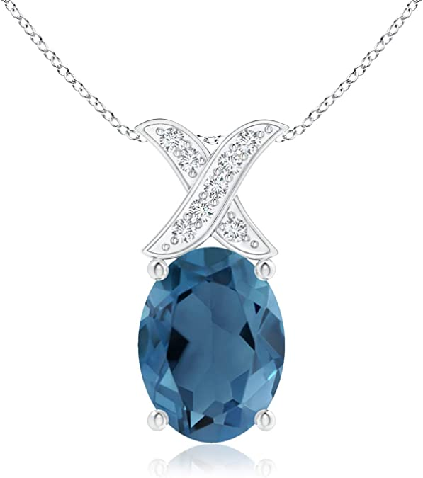 10k gold blue topaz and diamond halo necklace  yellow gold  genuine diamond halo  oval shaped faceted topaz  November birthstone
