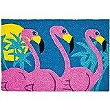 Jellybean Indoor Outdoor Machine Washable Rug, Tropical Flamingo