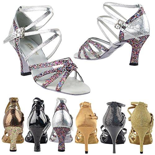 50 Shades 5008 Comfort Evening Dress Pump Sandals, Women Ballroom Dance Shoes (2.5, 3 & 3.5 High Heels) Party Sparkle & Ultra Silver