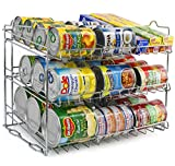 vegetable can holder - Sorbus Can Organizer Rack, 3-Tier Stackable Can Tracker & Pantry Cabinet Organizer Holds up to 36 Cans, Great Storage for Canned Foods, Drinks, and more in Kitchen, Cupboard, Pantry