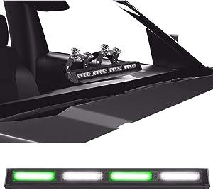 SpeedTech Lights Striker TIR 4 Head High Intensity LED Strobe Deck/Dash Windshield Mount Light Bar for Emergency Vehicles/Hazard Flashing Warning Lights with Cig Plug - Green/Clear Alternating