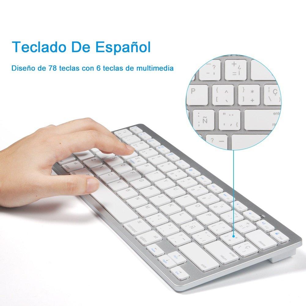Amazon.com: Spanish Keyboard, Bluetooth Ultra Slim Keyboard 78-Key for Windows 2000, NT, XP, Vista, Mac iOS, iPad, iPhone iOS 4.0.: Computers & Accessories