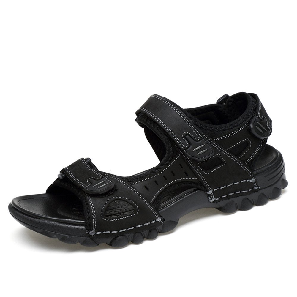 Pamray Sandals Athletic Men Suede Beach Water Shoes Summer Non-Slip Walking Velcro Footwear Lightweight Black Brown US 5.5-12 B07DYN554N 6 US Men= 38EU Black-please take the shoes' size label on The package as standard when you receive Shoes.