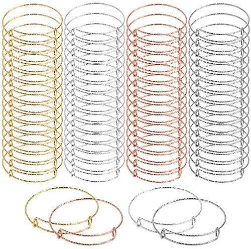 UPINS 60 Pcs Gypsophila Expandable Bangle Bracelets Adjustable Wire Bracelets, Blank Bangles for Women Jewelry Making (4 Colors)