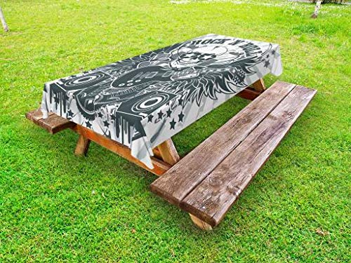 Lunarable Rock and Roll Outdoor Tablecloth, Punk Theme with Skull in Sunglasses Speakers Wings Fun Concert Graphic, Decorative Washable Picnic Table Cloth, 58 X 84 Inches, Grey Teal -