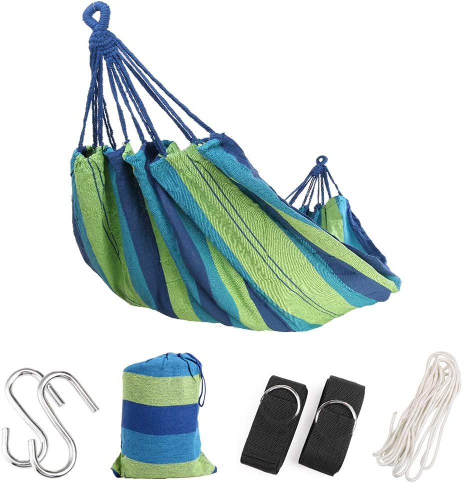 Extra Long Brazilian Double Camping Hammock with Tree Straps and Rope with Max 475 lbs Capacity, Soft Woven Cotton Portable 2 Person Hammock for Indoor Outdoor Backpacking Beach Backyard Hiking