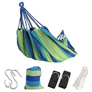 Extra Long Double Camping Hammock with Tree Straps and Rope, 98.4X59.1 Inch Soft Woven Cotton with Max 475 lbs Capacity Portable 2 Person Hammock for Indoor Outdoor Backpacking Beach Backyard Hiking