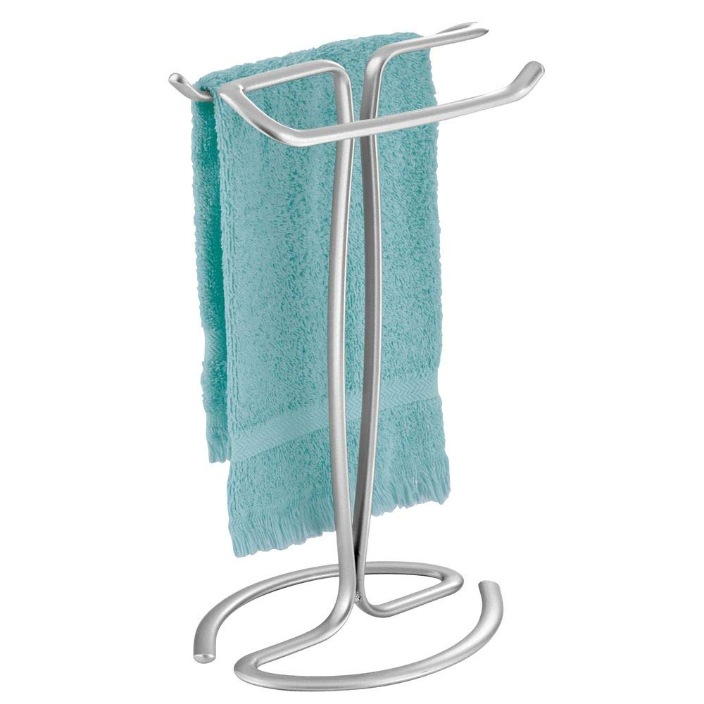 mDesign Decorative Metal Fingertip Towel Holder Stand for Bathroom Vanity Countertops to Display and Store Small Guest Towels or Washcloths - 2-Sided, 13.8'' High - Chrome