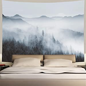 Misty Forest Tapestry Forest Trees with Mountain Tapestry Fantastic Fog Magical Tapestry 3D Vision Nature Landscape Tapestry for Bedroom (X-Large, Black and White Misty Forest)