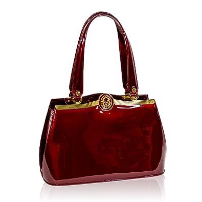 24a269c56d2b Valentino Orlandi Italian Designer Burgundy Patent Leather Shoulder ...