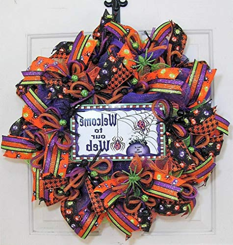 Mikash Halloween Wreath - Welcome Front Door Wreath - Spiders | Model WRTH - 674 -