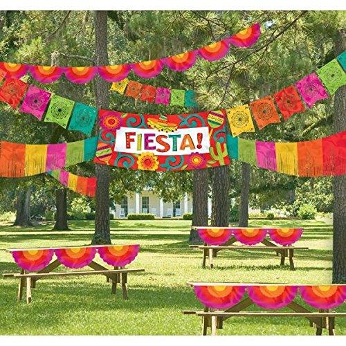Cinco De Mayo Decorations - Amscan Cinco De Mayo Fiesta Party Ultimate Indoor & Outdoor Decorating Kit (4 Piece), Multi Color, 19 x 15.5
