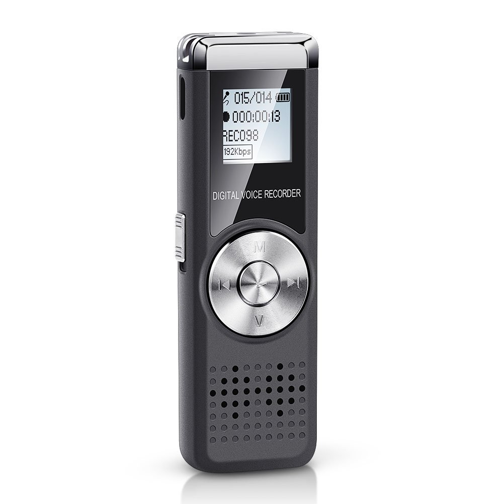 Voice Recorder,Shnvir 16GB Portable Digital Audio Recorder Rechargeable Dictaphone Sound Recorder Voice Activated Player for Class/Lecture/Meeting/Interview with Mp3 Player
