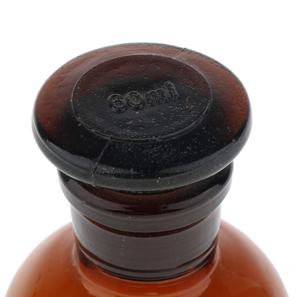 SM SunniMix Growler Ambrato Con Coperchi Chiusura Ermetica Tappo Bottiglia Utensili da Laboratorio Vetro 60ml