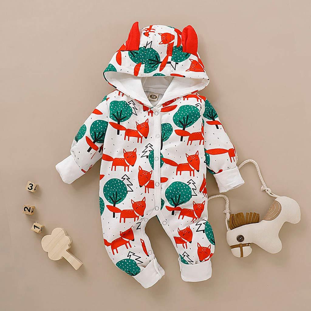 Hattfart Baby Jumpsuit Infant Bodysuit Toddler Long Sleeve Cotton Romper Boys Girls Cartoon Print Ear Hooded Outfitss