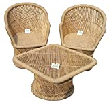 Ecowoodies Arbutus Handicraft Cane / Wooden Breakfast Kitchen Pub High Chair Garage Game Living Room Home Kitchen Counter Indoor/Outdoor Balcony Terrace Garden Lawn Cafeteria Restaurant Bar Sitting Stool Table Chair Cane Furniture Set (2+1)