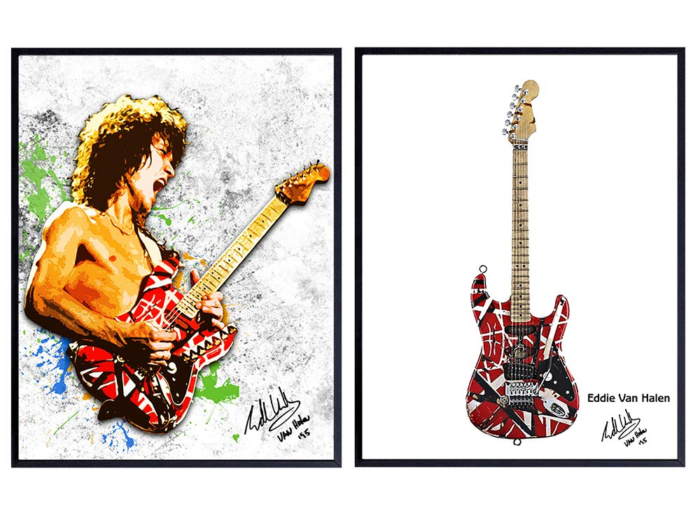 Amazon Com Eddie Van Halen And Guitar Wall Art Print Posters Unique Home Decor For Man Cave Game Or Rec Room Inexpensive Gift For 80 S Eighties Music Fans And Musicians