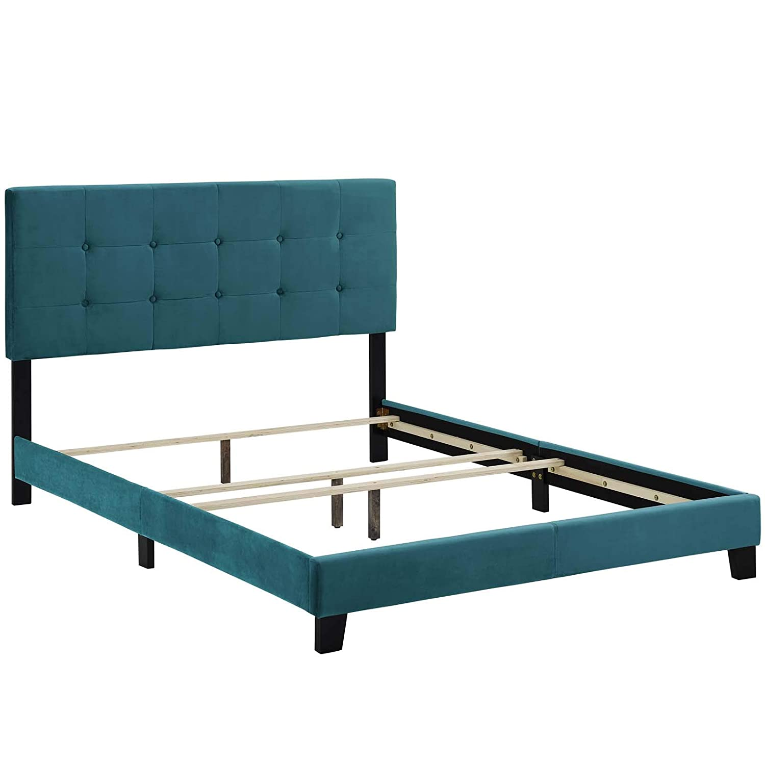 Gray Modway MOD-5851-GRY Amira Twin Upholstered Velvet Bed