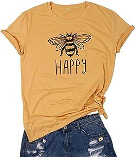 ab5ef0afbb1ec HDLTE Vintage Happy Bee T Shirt Women Short Sleeve Retro Graphic ...