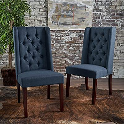 Brilliant Christopher Knight Home 302442 Billings Tufted Navy Blue Fabric Dining Chairs Set Of 2 Bralicious Painted Fabric Chair Ideas Braliciousco