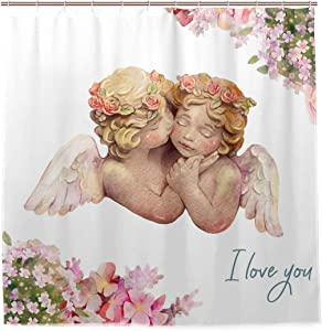 Mr.Brilliant Angel Shower Curtain Couple Flowers Floral Bath Curtain Set Waterproof with 12 Hooks for Bathroom Decor 72x72 inches 2060760