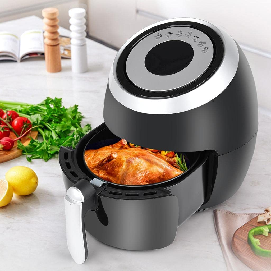 Air Fryer 5.2L 1400-Watt Electric Air Fryer Cooker, Hot Air Fryers Oven Oil Free Nonstick Cooker w/Additional Accessories, Recipes for Frying, Roasting, Grilling, Baking, Easy to Clean & Use