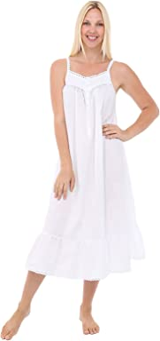 Alexander Del Rossa Womens Anna Cotton Nightgown, Sleeveless Victorian Sleepwear