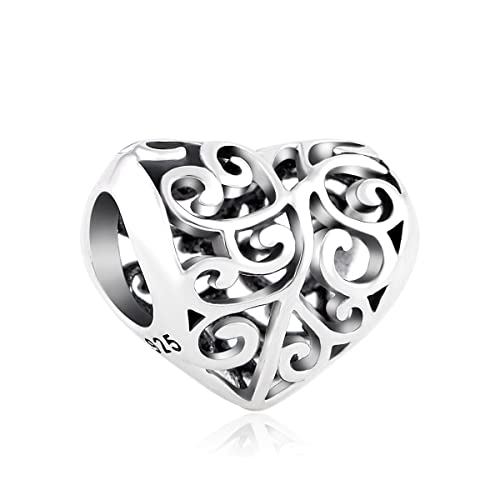 Amazon Com Lovans 925 Sterling Silver Heart Charm For Pandora