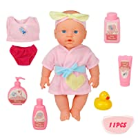 Poupée Bébé Jouet de Bain de Poupon en Silicone Realiste et Rose Avec Accessoires de Bain, 29cm