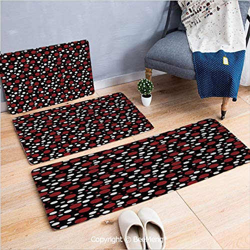 3 Piece Anti-Skid mat for Bathroom Rug Dining Room Home Bedroom,Red and Black,Retro 60s 70s Cartoon Snow Like Polka Dots Circles Rounds,White Light Grey and Burgundy,16x24/18x53/20x59 inch (Cartoon Characters From The 60s And 70s)