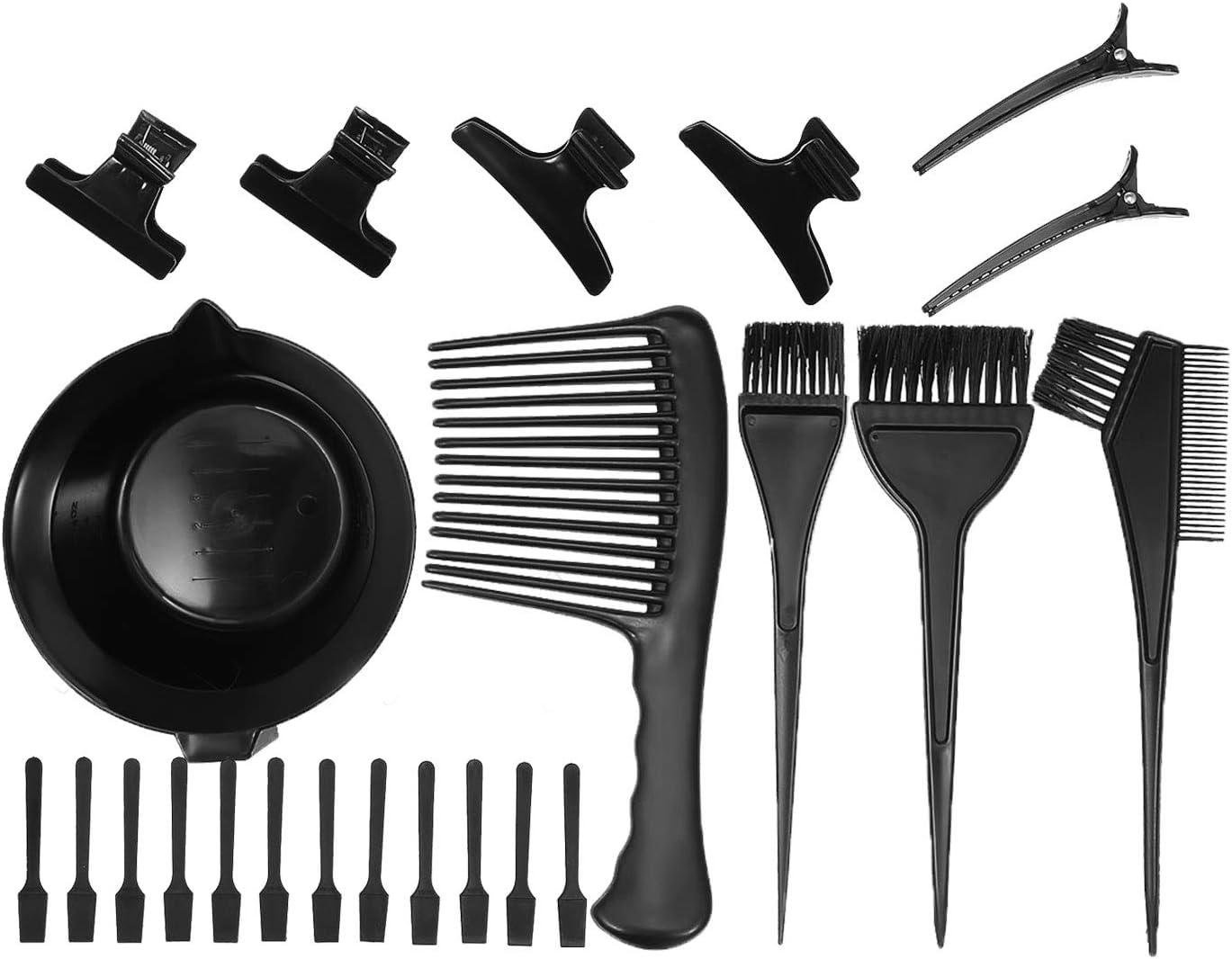 Anself 23 piezas de tinte para el cabello, tinte para el cabello, tazón, tinte, cepillo, peine, pinzas para el cabello, espátulas para mezclar, tinte ...
