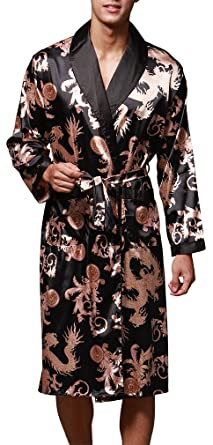 FLYCHEN Men\'s Floral Silk Robe Lapel Collar Long Sleeve Belt Satin ...