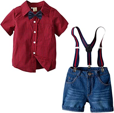 Bebé Niño Traje de 4 Piezas Gentleman Ropa Conjunto Bowtie + Camisa Manga Corta + Suspender + Pantalones Cortos de Jeans: Amazon.es: Ropa y accesorios