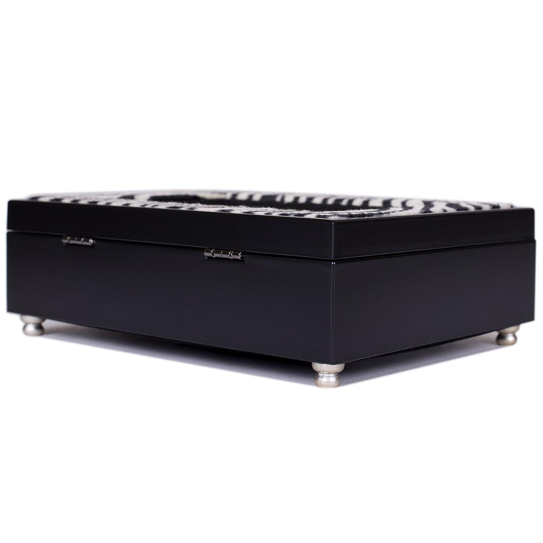 Glitter Zebra Print Black Cottage Garden Digital Music Box Plays Heat Wave