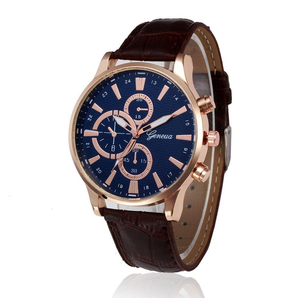 JiaMeng Reloj de Pulsera de Cuarzo de Cuero de Pulsera de Cuarzo de aleación analógica de Cuero de diseño Retro(marrón): Amazon.es: Ropa y accesorios