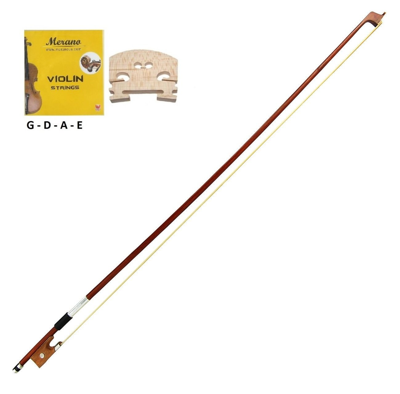 Merano 1/2 Size Violin Bow + A Set of Strings + A Bridge for Student Replacement