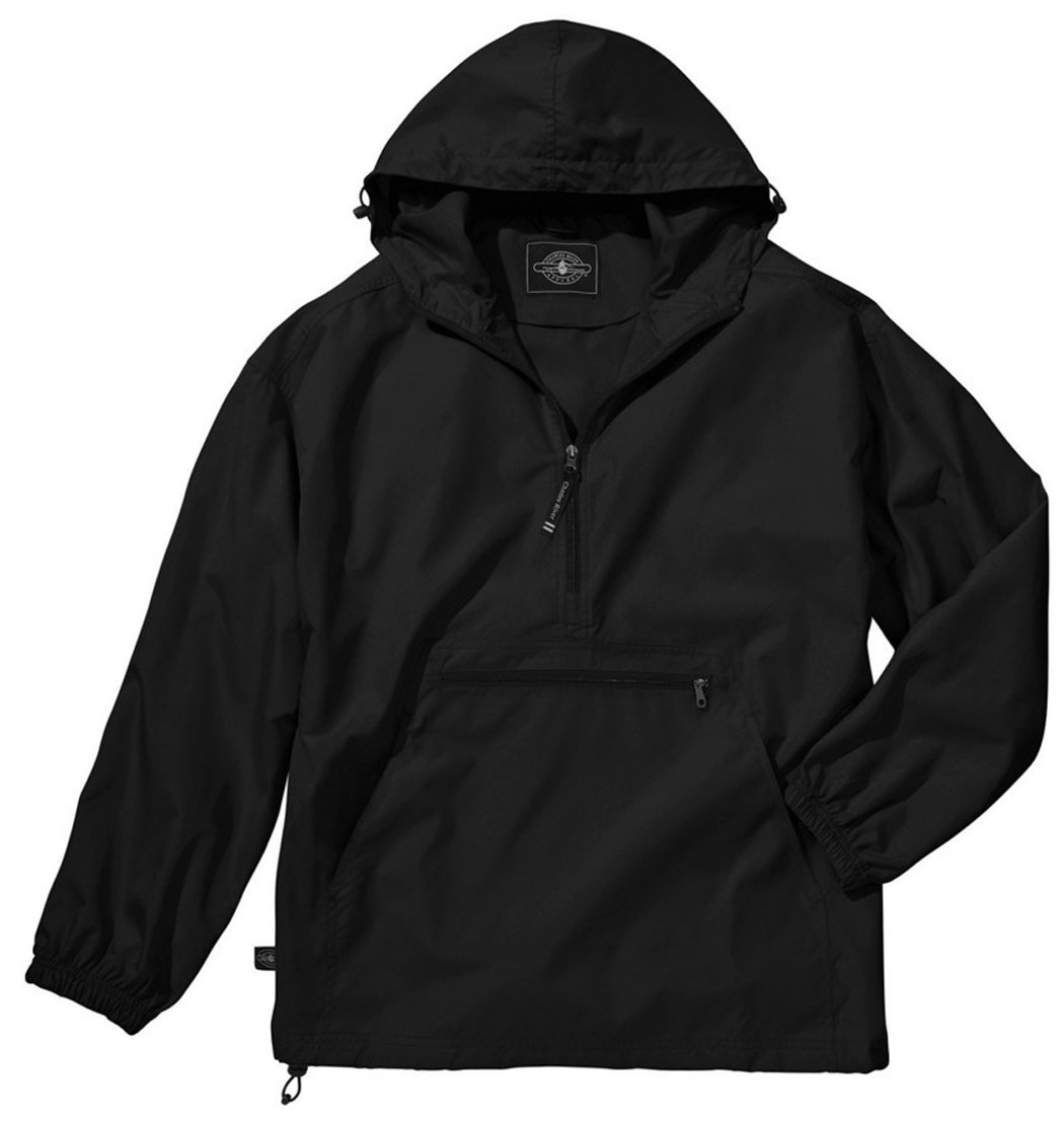 Big Mens Pack-N-Go Wind and Water Resistant Pullover (Black 3X)