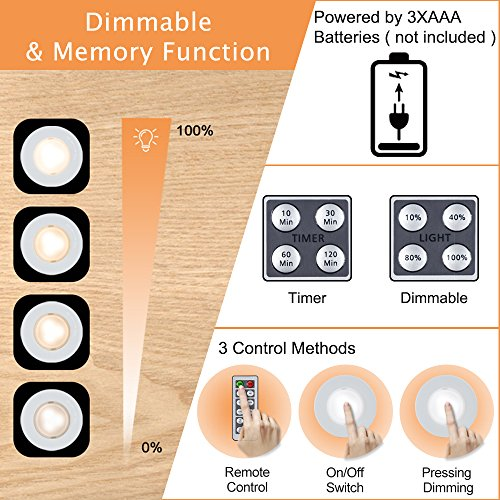 SALKING LED Puck Lights, Wireless LED Under Cabinet Lighting with Remote, Closet Light Battery Operated, Dimmable Under Counter Lights for Kitchen, Natural White-3 Pack by Salking (Image #6)